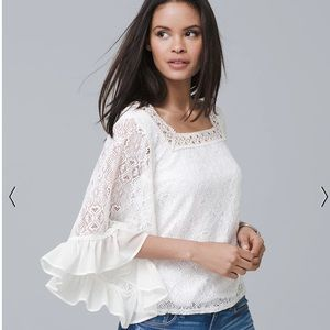White House Black Market BELL-SLEEVE LACE PEASAN